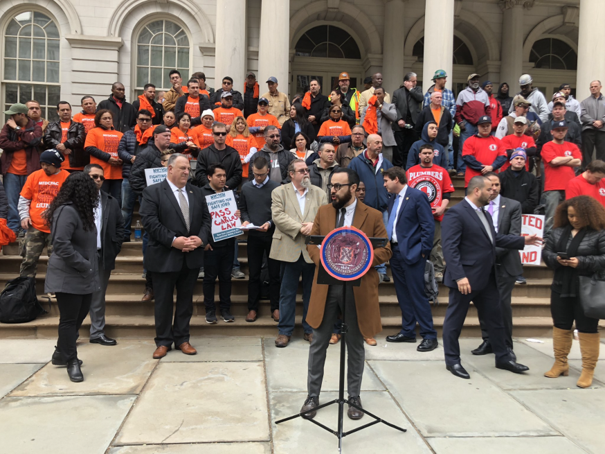 Moya Holds Rally at City Hall, Calls for Greater Safety Protections